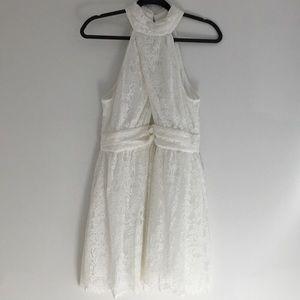 NWOT halter open back white lace peek-a-boo dress